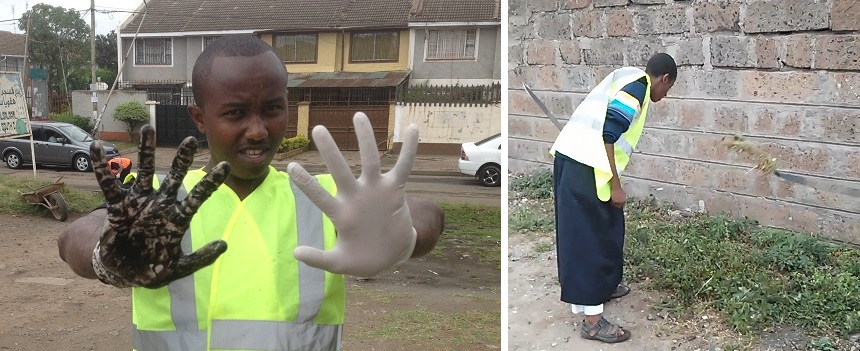 RIGHT: A glove after the work in the gutter contrasted with a clean one                                                                                                Slashing all excess greenery